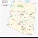 Road Map Us American State Arizona Royalty Free Vector Image