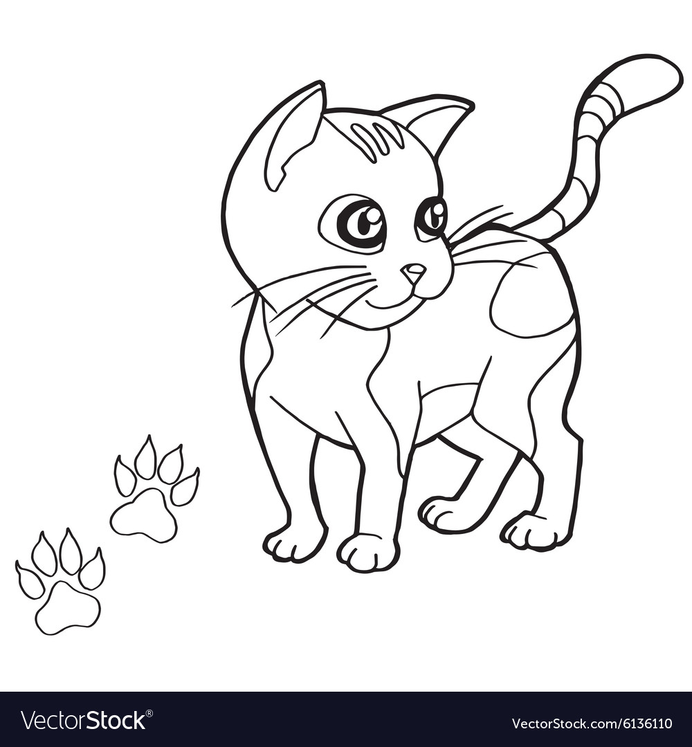Paw Print With Cat Coloring Pages Royalty Free Vector Image