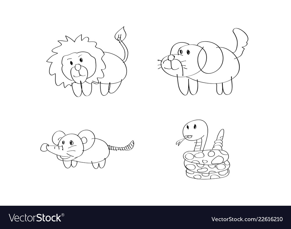 Drawing Cartoon Lion Dog Rat Snake Animal Vector Image