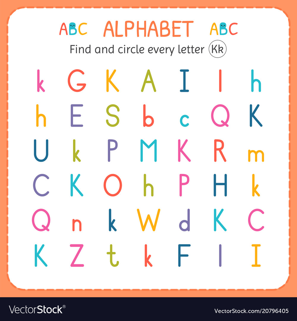 Find And Circle Every Letter K Worksheet Vector Image