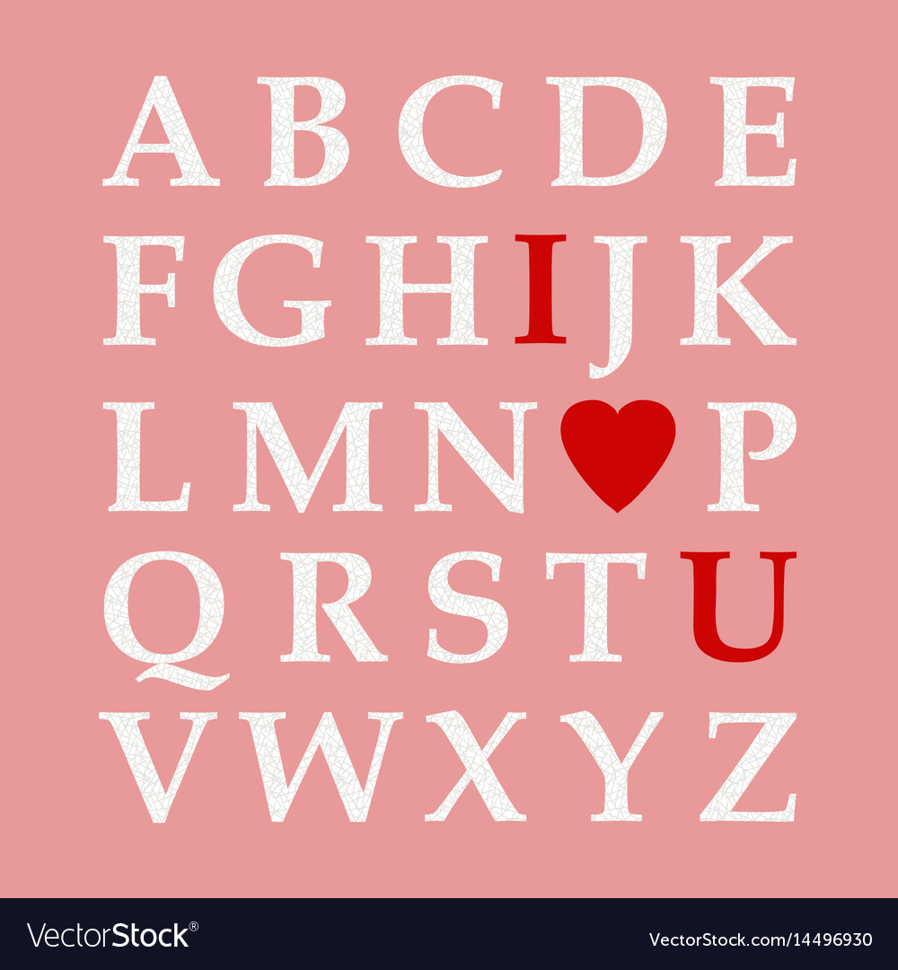 Download Alphabet valentine love abc Royalty Free Vector Image