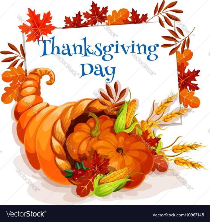 Thanksgiving Day cornucopia greeting card Vector Image