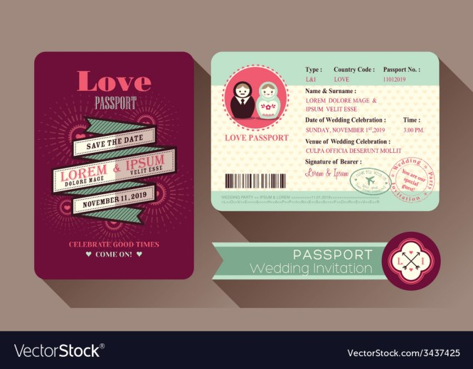 Retro Visa Passport Wedding Invitation Card Design