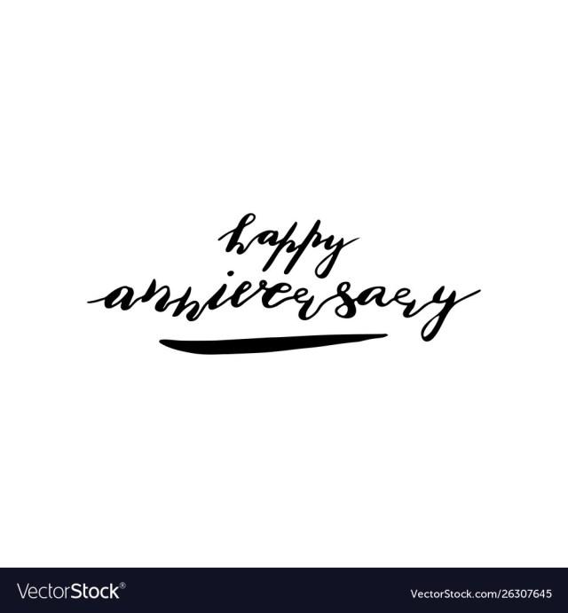 Hand Lettering Phrase Happy Anniversary