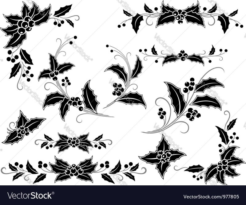 Black And White Christmas Holly