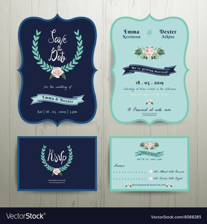 Navy Blue Wedding Invitation Card