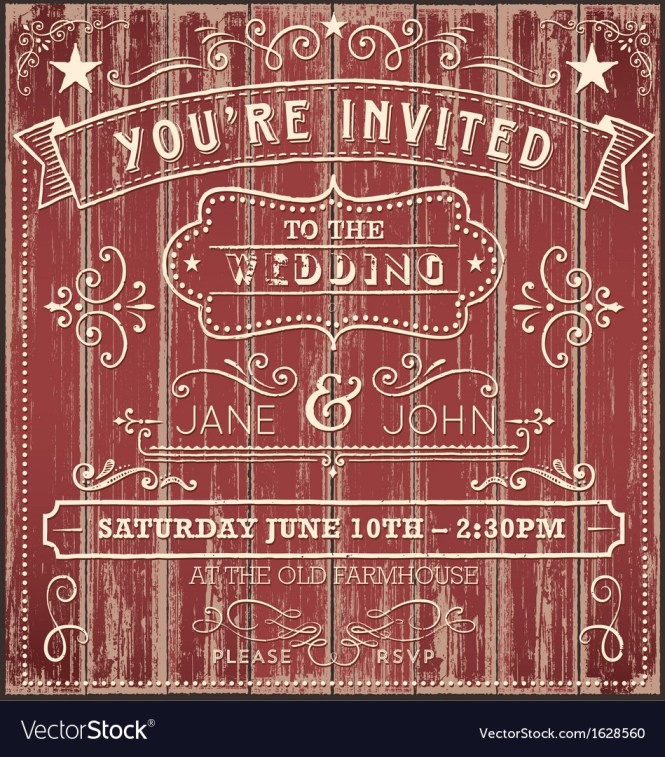 Vintage Country Wedding Invitation