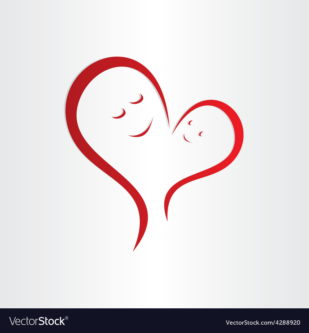 Download Mothers love icon mother and baby heart shape Vector Image