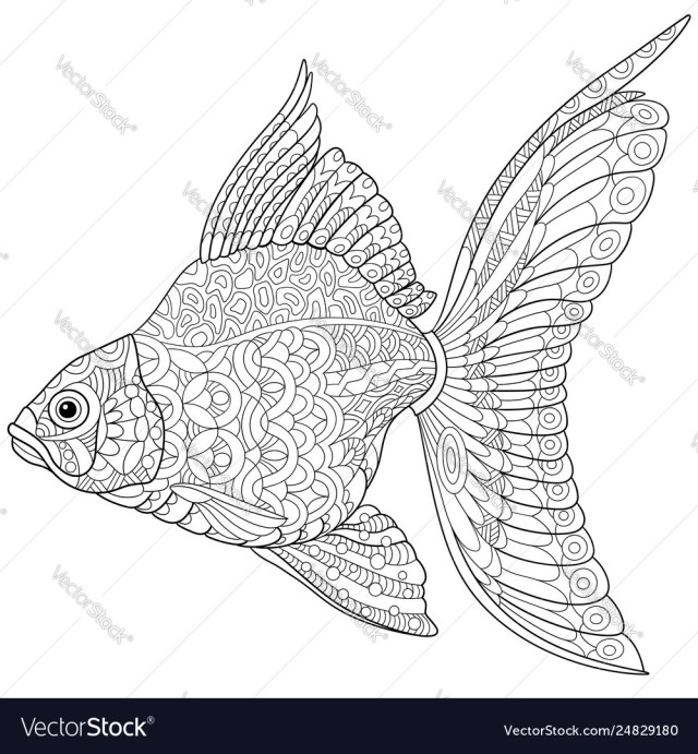 Goldfish adult coloring page Royalty Free Vector Image