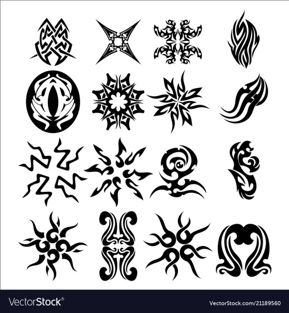 Pack of tribal tattoo set Royalty Free Vector Image