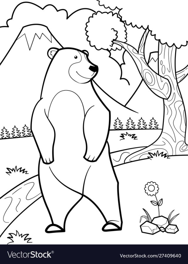 Cute bear coloring pages Royalty Free Vector Image