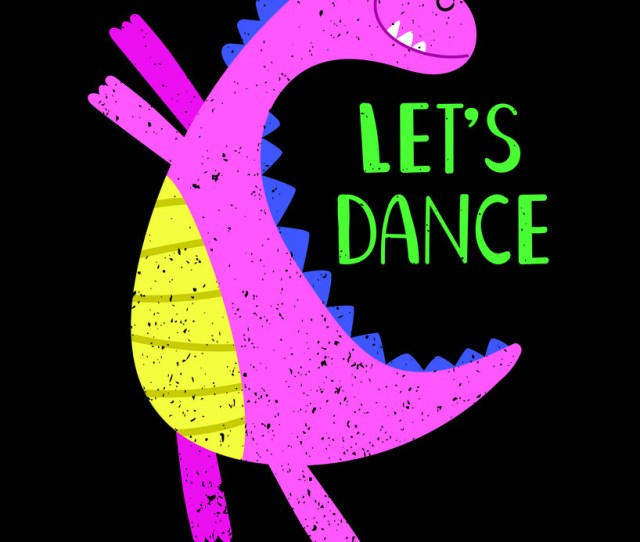 Lets Dance Pink Dino Poster Vector Image