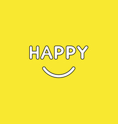 concept happy text with smiling mouth