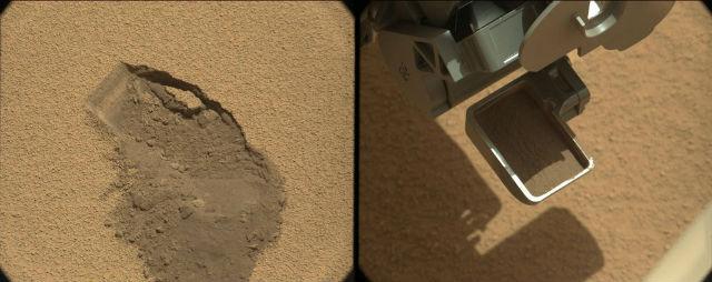 Скребок марсохода Curiosity с первой пробой марсианского грунта (фото NASA/JPL-Caltech/MSSS).