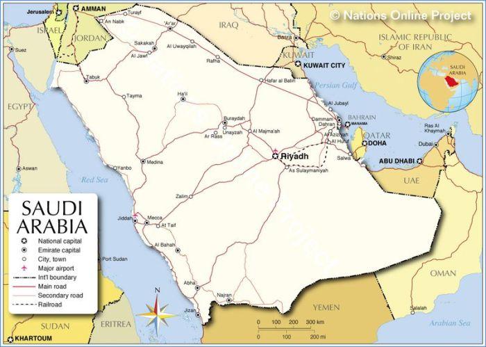 Map of modern Saudi Arabia (Nations Online)