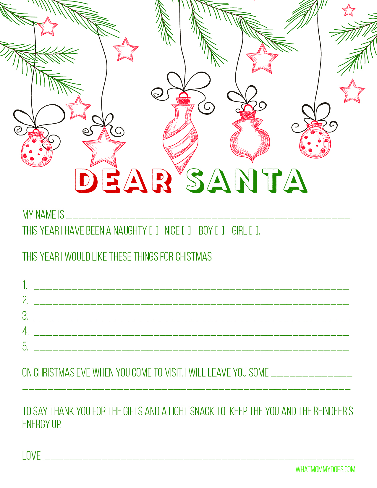 Cute Free Printable Letter To Santa Blank Letter To Santa