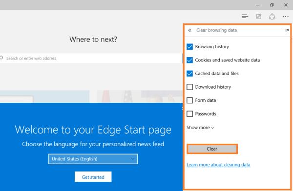 Microsoft Edge - Löschen von Browing-Daten - Wählen Sie aus, was gelöscht werden soll - Windows Wally