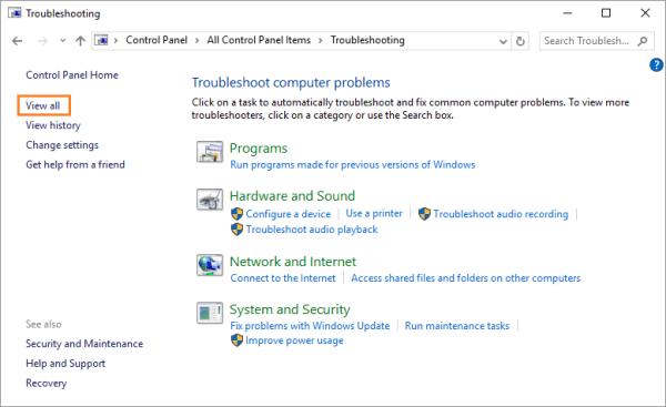 0x8E5E0407 - Windows 10 - Панель управления - Устранение неполадок - Vew all - Windows Wally