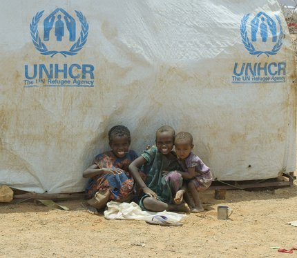 Young Somali refugees in Malkadiida, Ethiopia, 25 August, 2011. With drought and famine ravaging their home country, thousands of Somalis have taken up residence in refugee camps across the border.