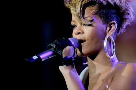 Rihanna performing during the Pepsi Fan Jam Super Bowl Concert on South Beach in Miami, Florida - February 4, 2010