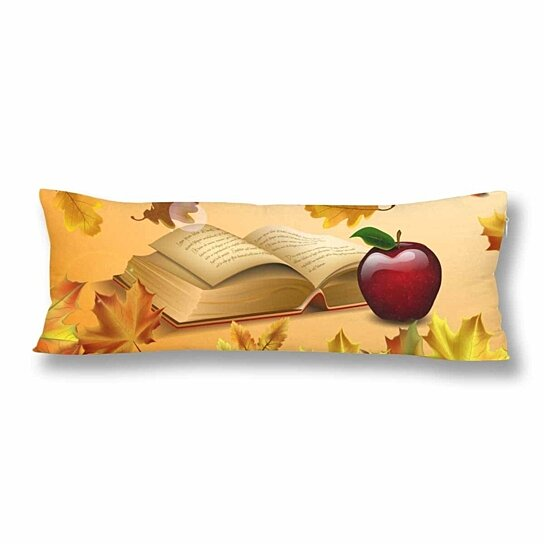 autumn leaves and red apple body pillow covers pillowcase 20x60 inch open old book fall body pillow case protector