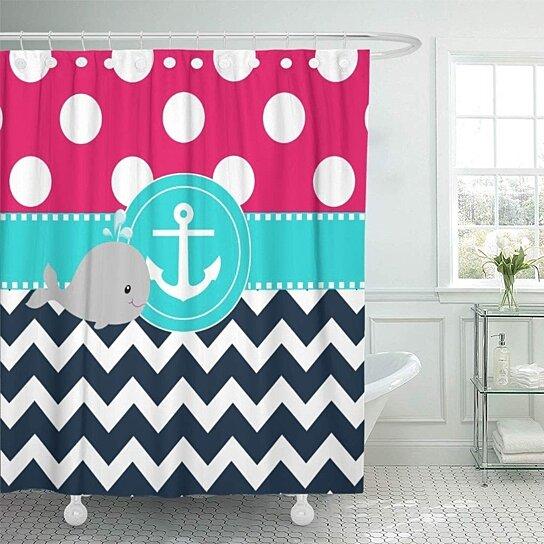 blue anchor pink teal bath kids siblings bathroom decor bath shower curtain 60x72 inch