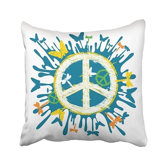 blue sign hippie peace symbol colorful butterfly love sketchy abstract blot blur button pillowcase throw pillow cover case 16x16 inches