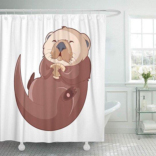 brown beaver cartoon smiling otter colorful sea weasel adorable bathroom decor bath shower curtain 66x72 inch