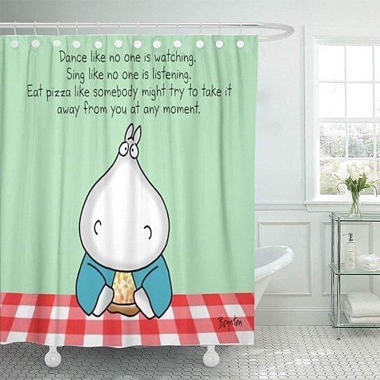 cartoon hippo pizza by sandra boynton motivation dance sing bathroom decor bath shower curtain 66x72 inch