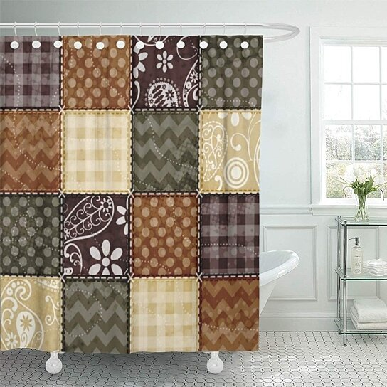 cute beige dark brown and olive green quilt girly bathroom decor bath shower curtain 66x72 inch