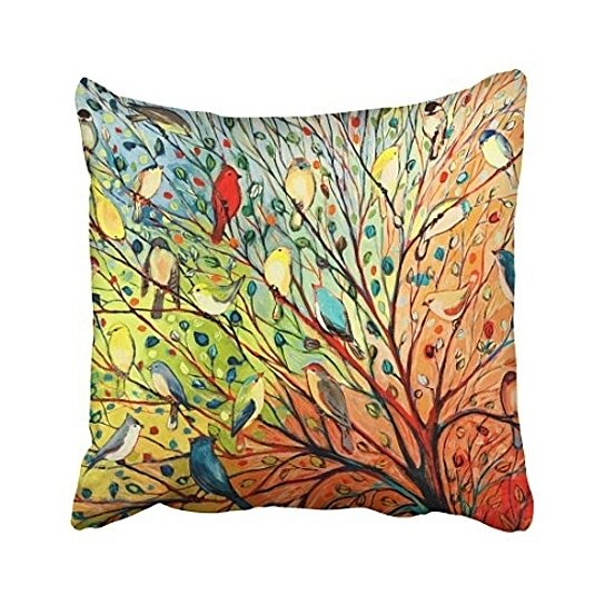 decorative pillow cover decor throw pillow case cushion cover colorful birds and tree size 18x18 inches two side