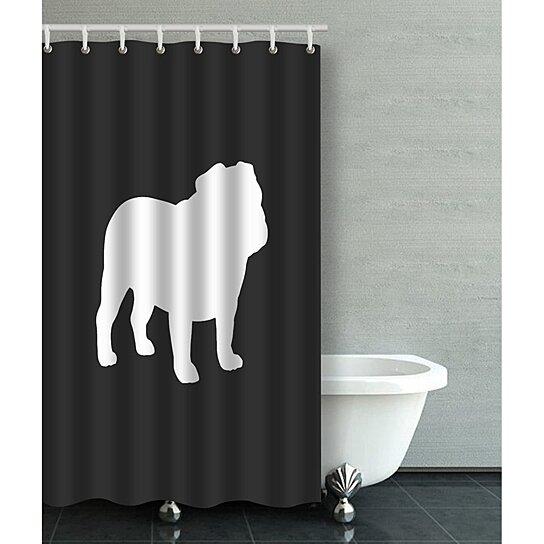 english bulldog silhouette bathroom shower curtain 36x72 inches