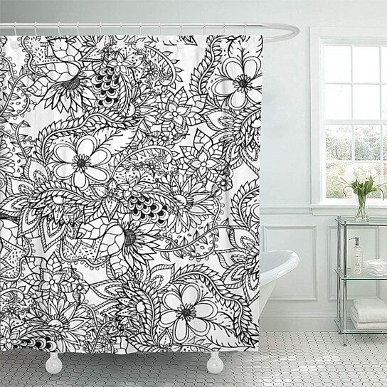 girly floral botanical coloring in trend black white pages bathroom decor bath shower curtain 66x72 inch