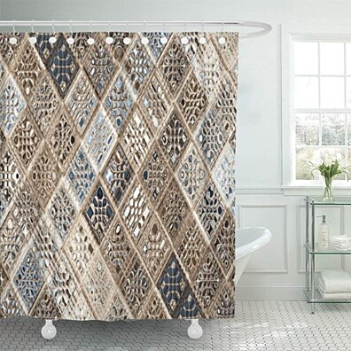 gray argyle slate blue brown sari mosaic pattern tan bathroom decor bath shower curtain 66x72 inch