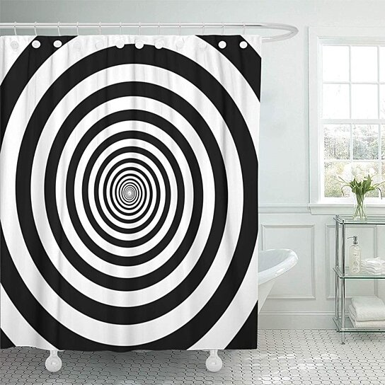 hypnotic circles abstract optical spiral swirl hypnotize circular pattern bathroom decor bath shower curtain 60x72 inch