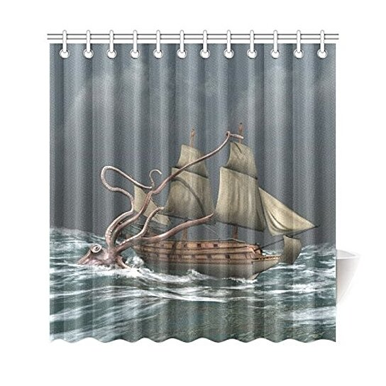 kraken attack ship shower curtain octopus ship polyester fabric shower curtain bathroom sets 66x72 inches