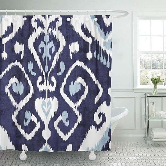 pattern modern blue and white ikat bold contemporary tribal bathroom decor bath shower curtain 66x72 inch