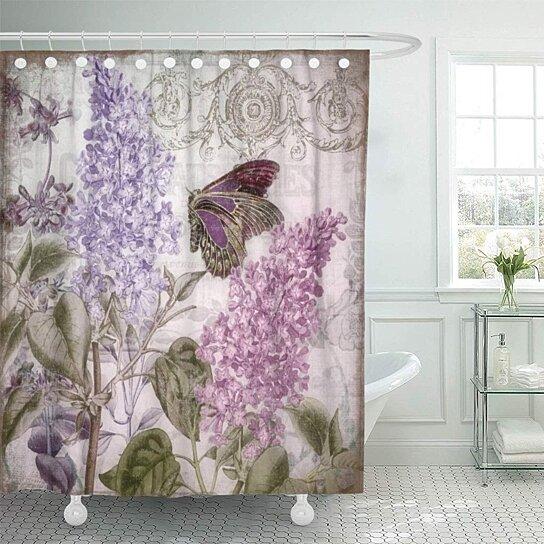 purple lilac victorian romance lavender romantic vintage floral garden bathroom decor bath shower curtain 66x72 inch