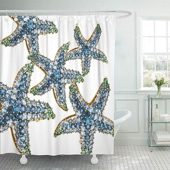 rhinestones starfish blue rhinestone stars costume diamonds vintage beach bathroom decor bath shower curtain 66x72 inch