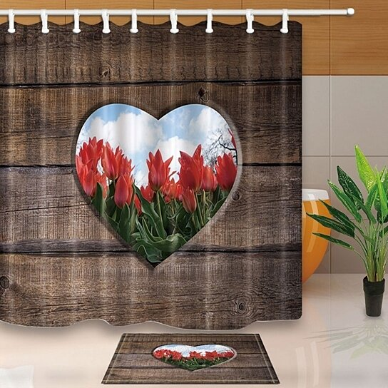 rustic decor farm wood heart style pattern with red flowers shower curtain 66x72 inches with floor doormat bath rugs 15 7x23 6 inches