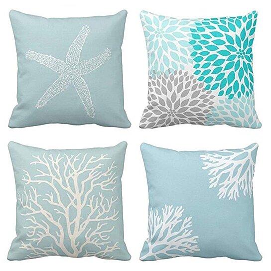 set of 4 pillow cases blue white coral sea green star vintage starfish pastel seafoam pillowcase cushion cover case home decor