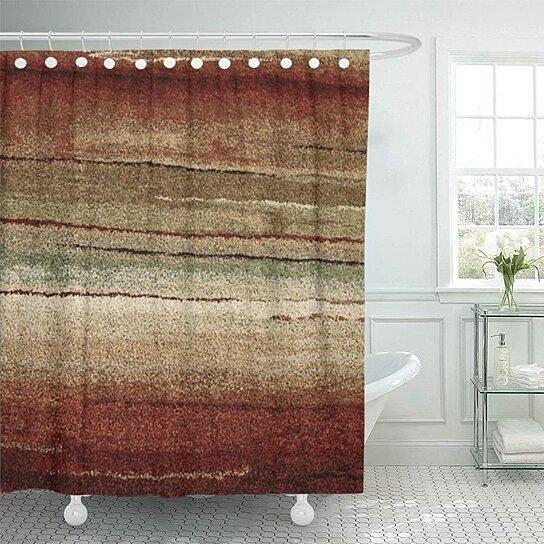 tribal geometric brown western south southwestern home bathroom decor bath shower curtain 60x72 inch