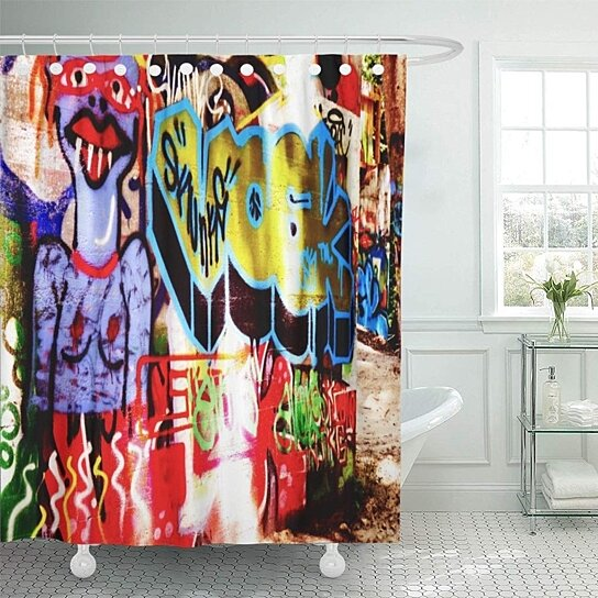 urban colorful graffiti double street wall spray paint hip bathroom decor bath shower curtain 66x72 inch