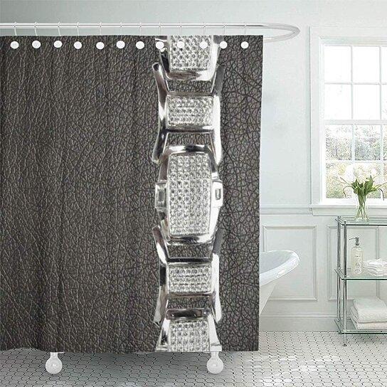 western gray brown and silver belt buckle southwest home bathroom decor bath shower curtain 66x72 inch