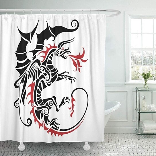 black modern tribal dragon tattoo red abstract animal asia asian beast china chinese bathroom shower curtain 66x72 inch