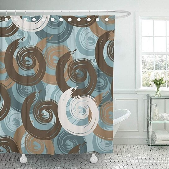 blue abstract curls teal brown shower curtain 66x72 inch