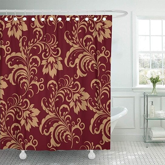 burgundy maroon gold floral antique flower pattern classy shower curtain 66x72 inch