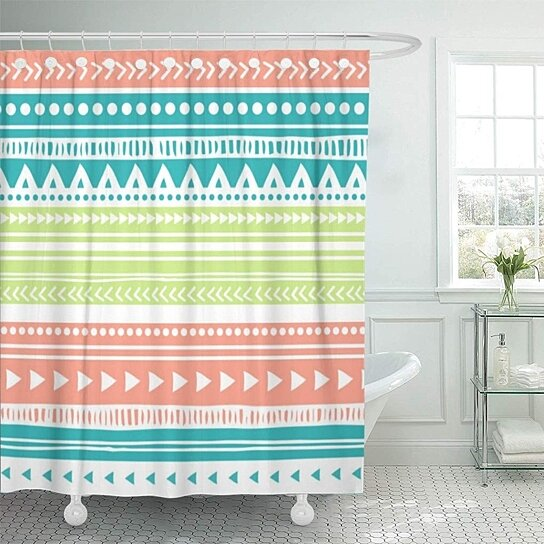 chic coral teal tribal sophisticated contemporary modern shower curtain 66x72 inch