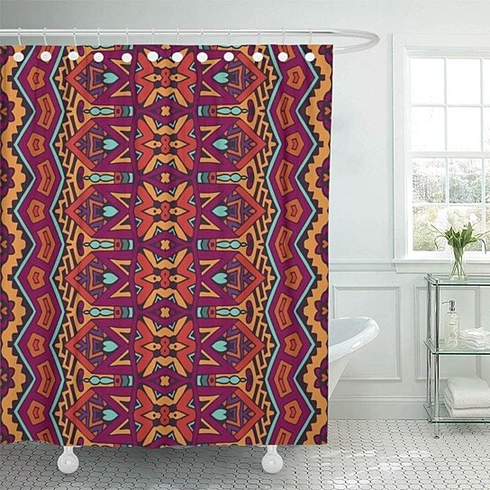 colorful guatemala tribal vintage abstract geometric ornamental boho african shower curtains set 66x72 inch