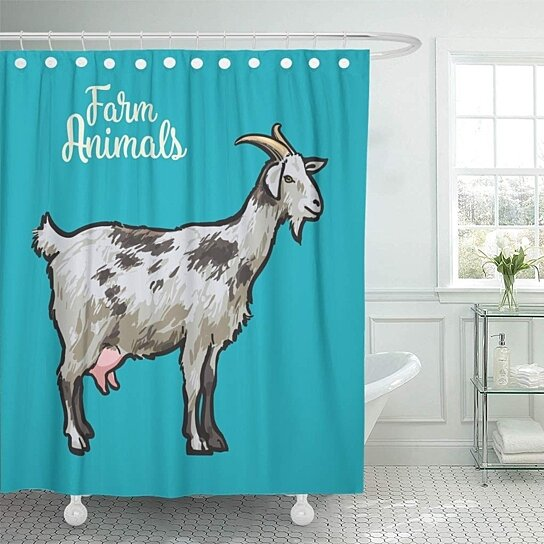 farm goat horns realistic colored sketch cattle for breast shower curtain 60x72 inch